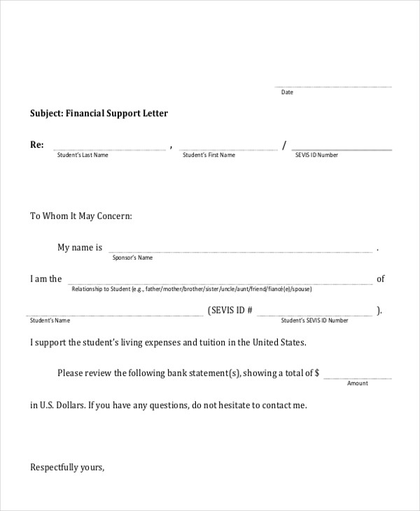 business financial support letter