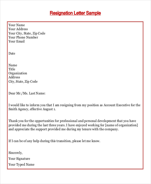 formal job resignation letter
