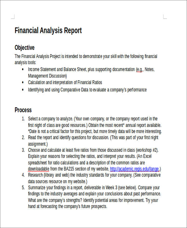 41 Sample Reports in Doc – Company Financial Analysis Report Sample