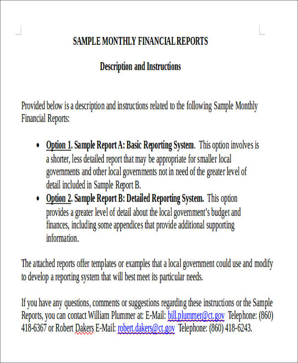 Examples Of Financial Report  Financial Report Templates Free