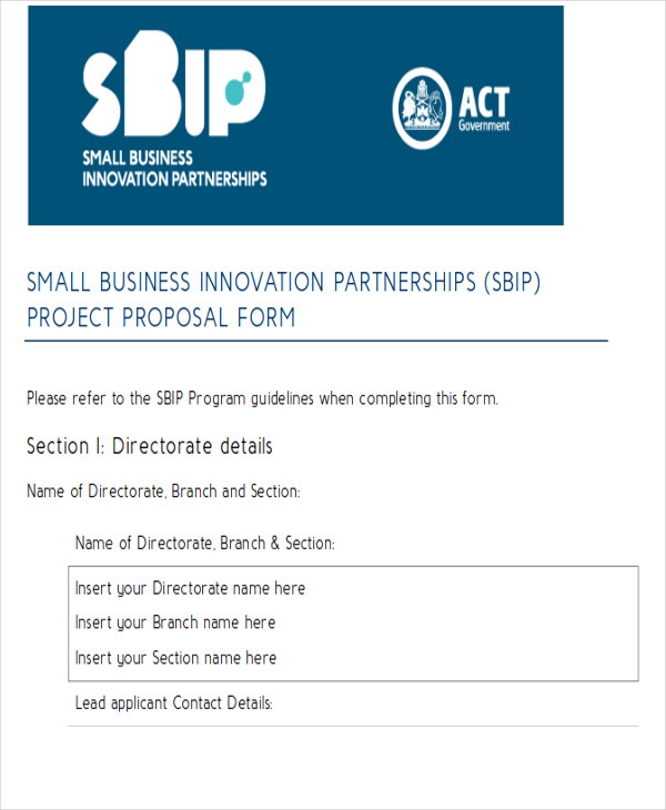 sample business partnerships project proposal form