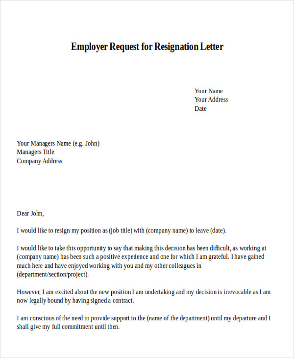 employer request for resignation letter