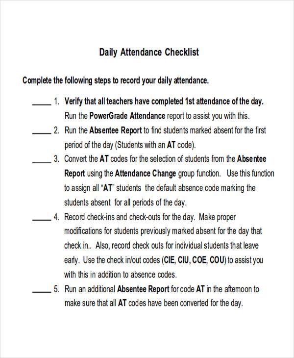 attendance check list