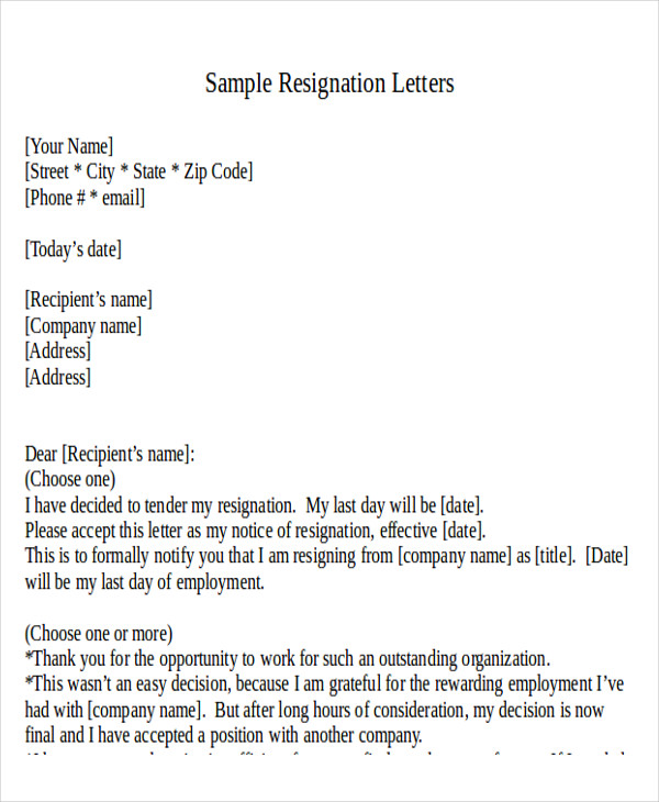 formal resignation letter template word 31 resignation letter formats amp templates sample templates 21781