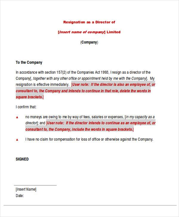 company director resignation letter