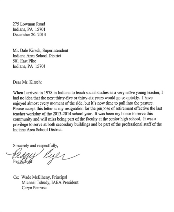 teacher job resignation letter