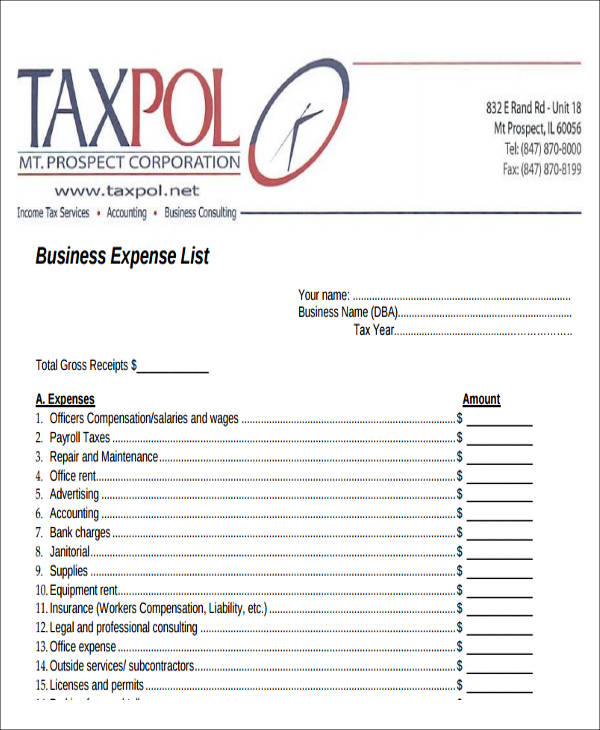Sample Lists Of Expense   Examples In Word Pdf