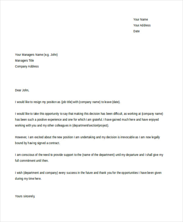 new job resignation letter