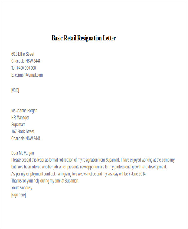 simple resignation letter for retail 31 resignation letter examples sample templates 22338