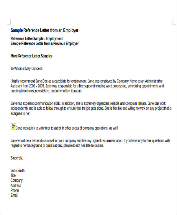 7 sample personal recommendation letters sample templates personal recommendation letter for employment spiritdancerdesigns Gallery