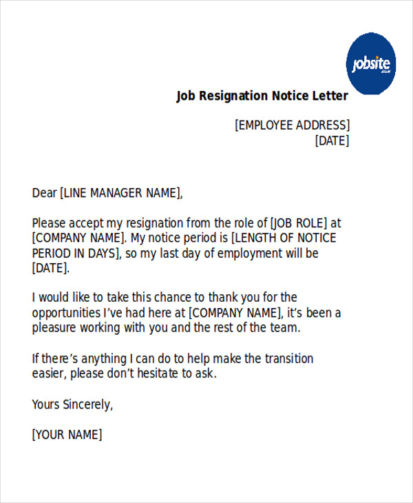 job resignation notice letter