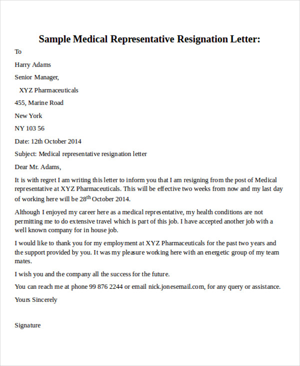 Resignation Letter Format – Samples of Resignation Letters with Regret