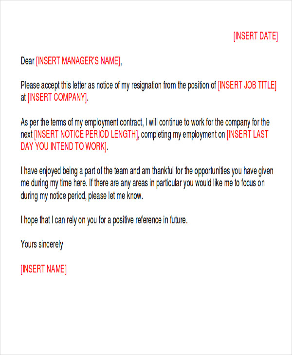 standard notice of resignation letter