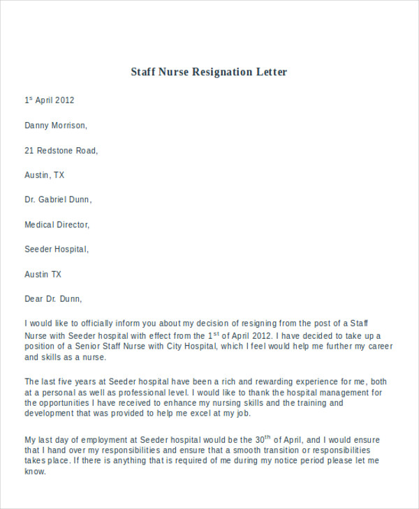 staff nurse resignation letter1
