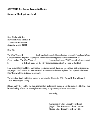 transmittal letter example