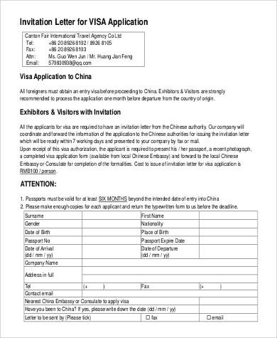 visa application invitation letter