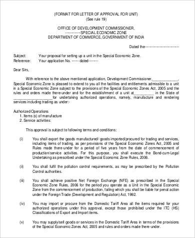 approval letter format