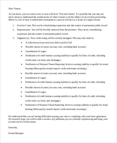 Eviction Warning Letter