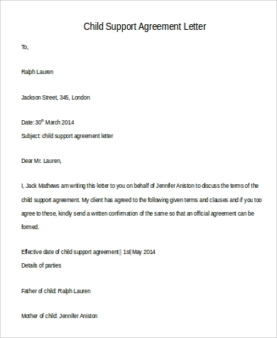 sample of child support letters