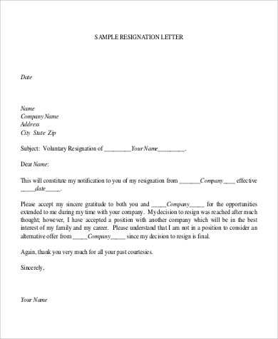 resignation letter format for company simple resignation letters 11437