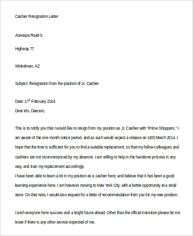 cashier resignation letter to download