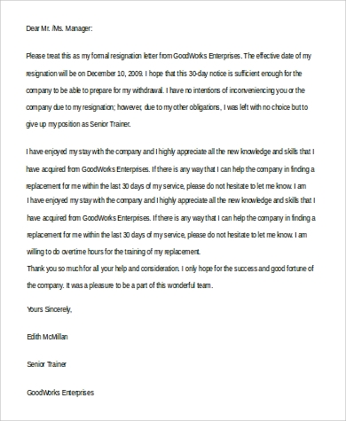 basic resignation letter in word