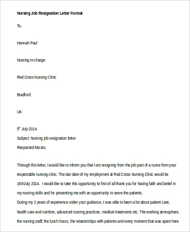 nursing job resignation letter format