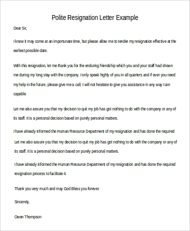 30 simple resignation letters sample templates simple polite resignation letter polite resignation letter example expocarfo Gallery