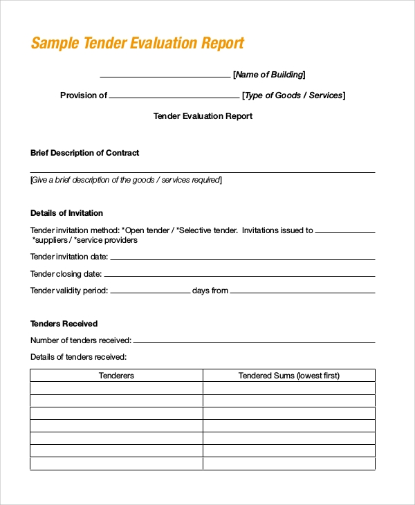 tender evaluation report example