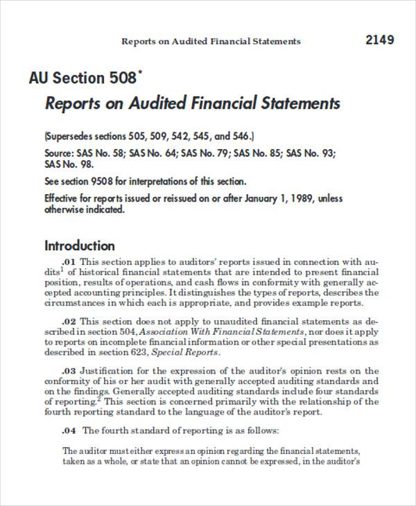 Standard Audit Report Example