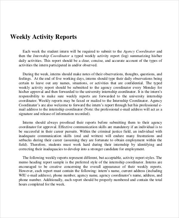 11 Sample Activity Report Free Sample Example Format Download – Weekly Activity Report Template