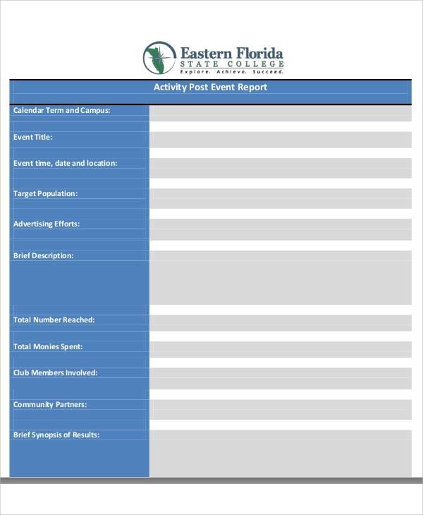 sample post activity report