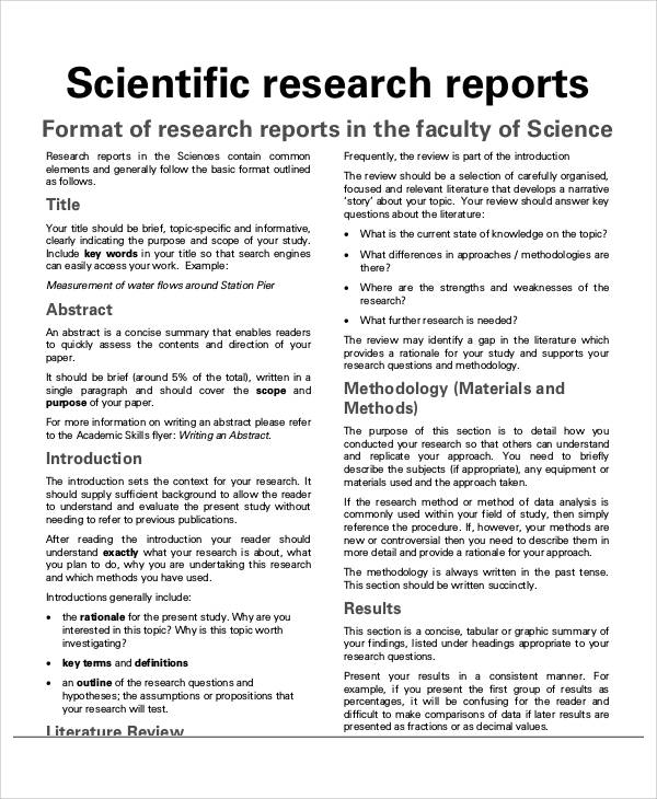 Sample Research Report - Free Sample, Example, Format Download