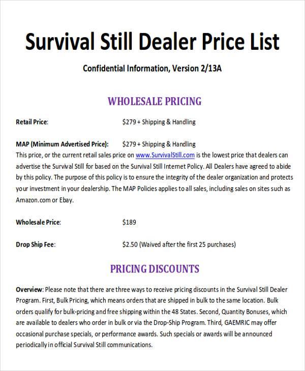 dealer price list format free