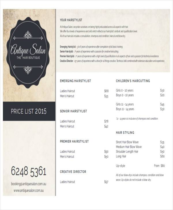 Salon Price List Samples In Ms Word