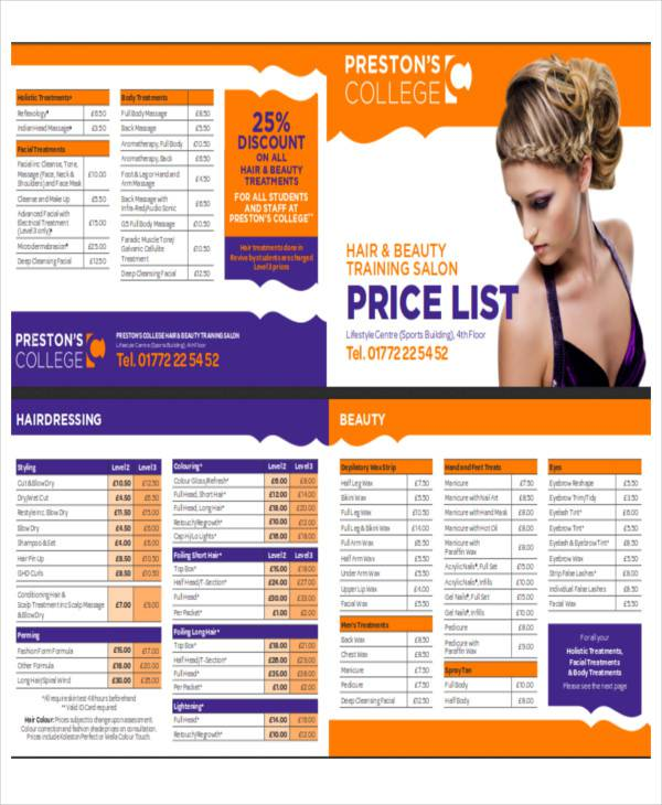 Salon price list sample 9 examples in word pdf for Academy for salon professionals price list