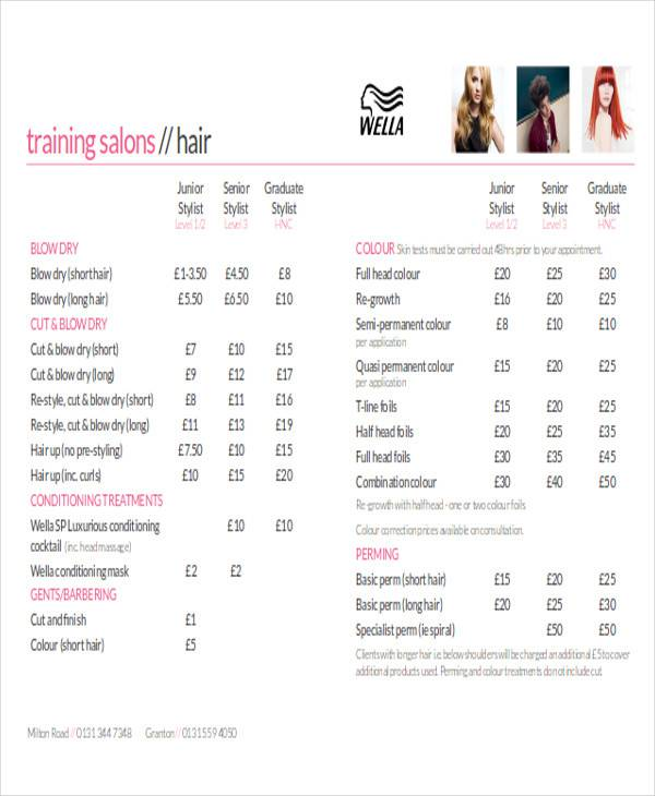 salon price list sample