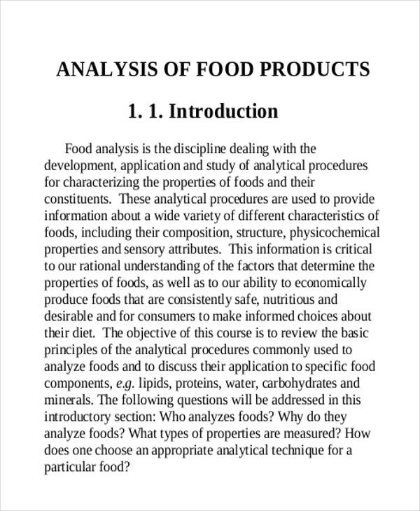 food product analysis report