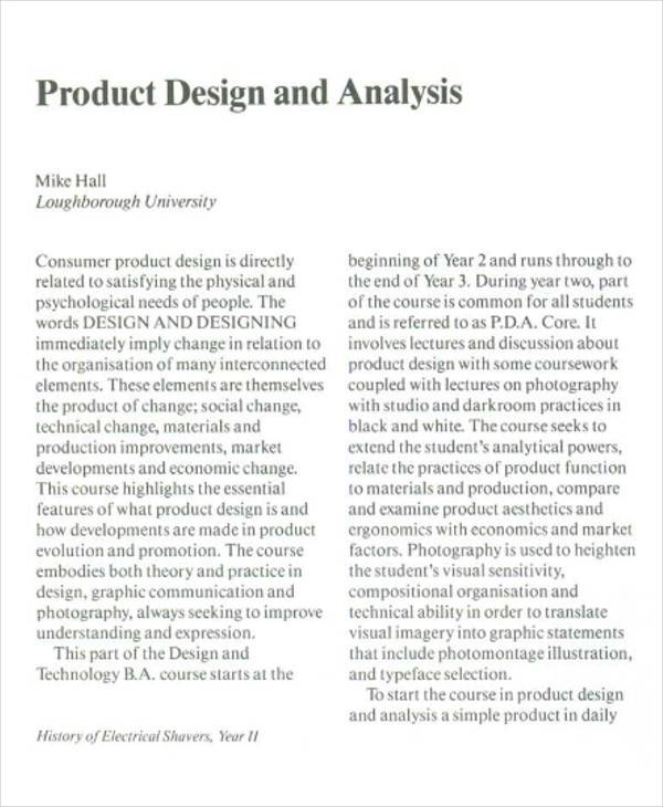 product design analysis report