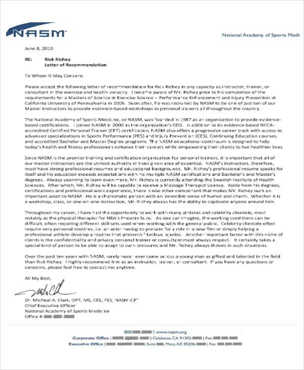 personal trainer recommendation letter