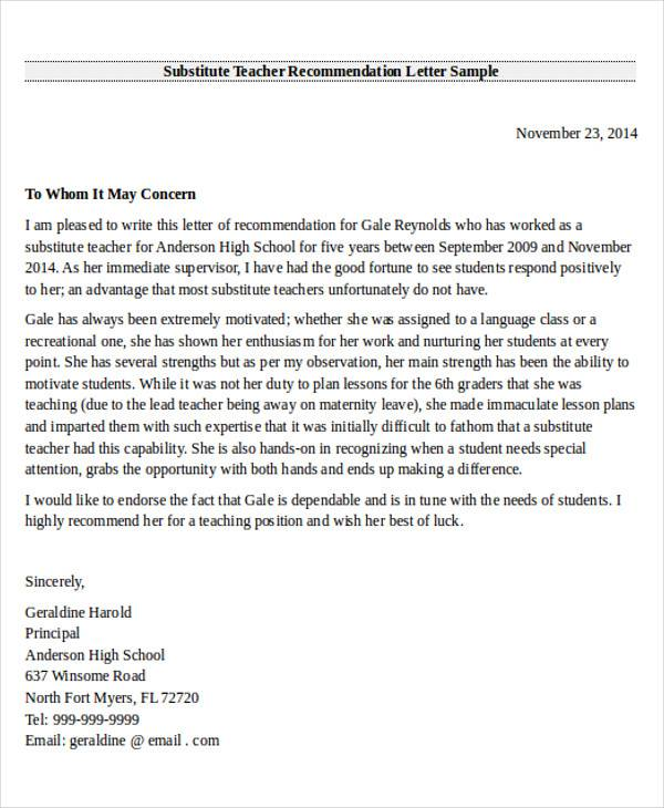 Letter Of Recommendation For Substitute Teacher Dolap Magnetband Co