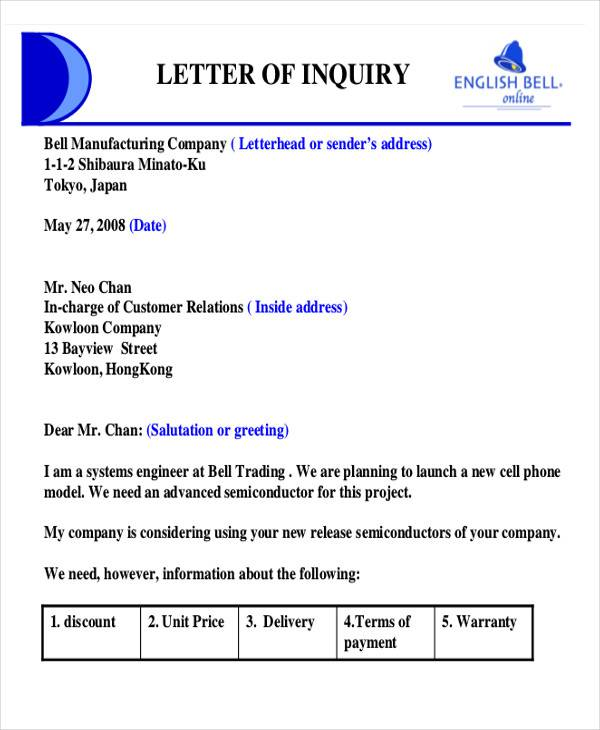 Product Quotation Inquiry Letter  Purchase Inquiry Letter