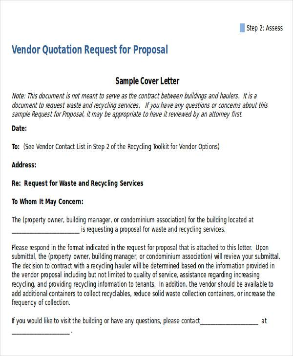 vendor quotation request letter