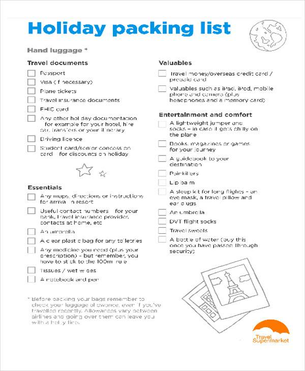 Holiday Packing List In PDF  Packing List Sample