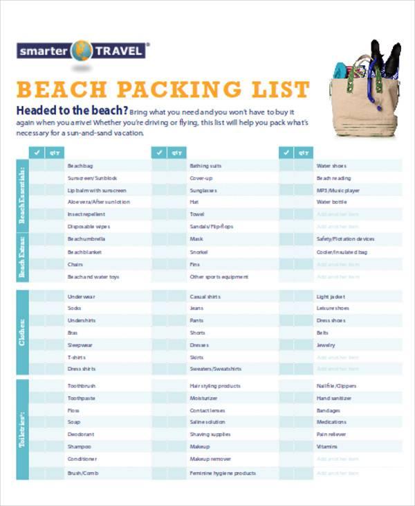 sample beach packing list