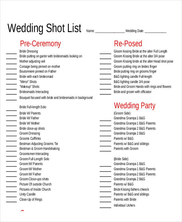 Shot list sample 9 examples in word pdf wedding shot list pronofoot35fo Choice Image