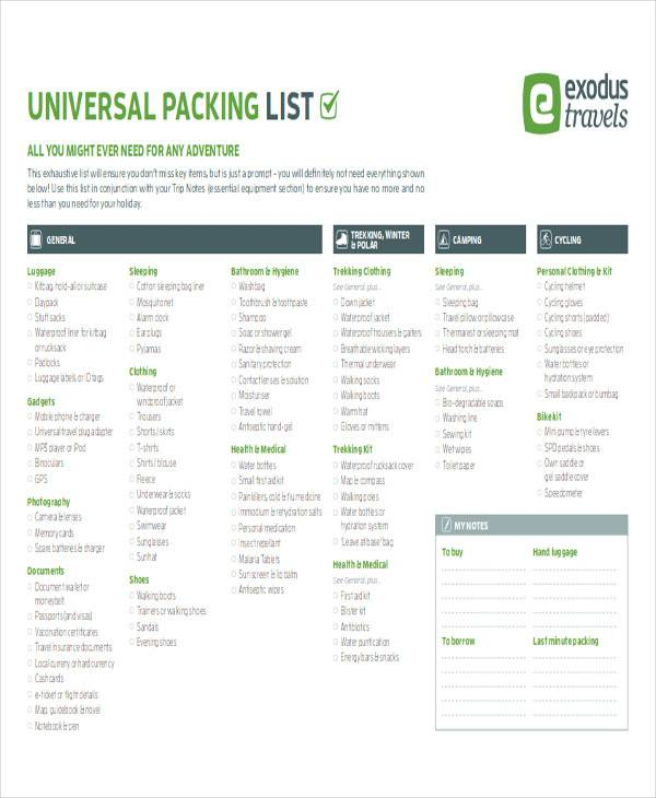 11 Packing List Sample Examples in Word PDF – Packing List Format in Word