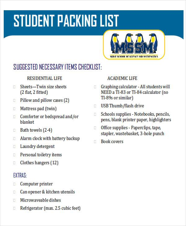 student packing list