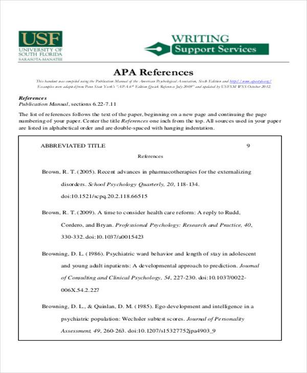 professional apa reference list