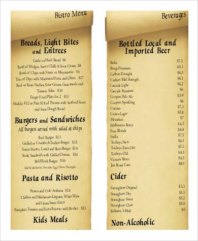 Food Menu List Sample   Examples In Word Pdf